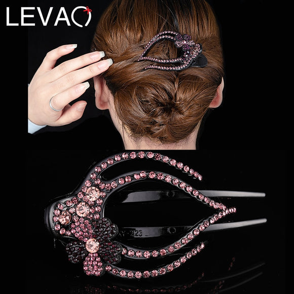 Levao 1PC Shiny Rhinestone Flower Hairpins Acrylic Hair Clips for Women Hai Accessories Crystal Hollow Hair Claws Headwear