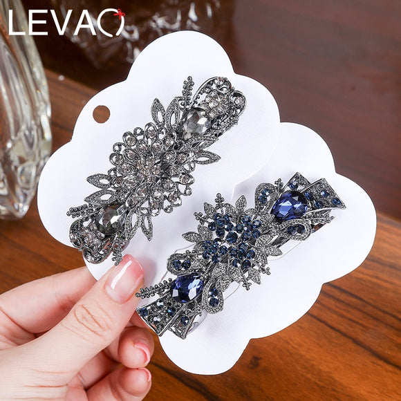 Levao Retro Women Hairpins Shiny Rhinestone Flower Hair Clips Barrettes for Lady Elegant Crystal Duck Clip Hair Pins Jewelry