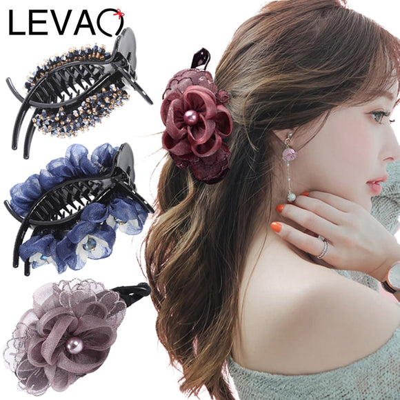 Levao Rhinestone Flower Hairpin Pearl Hair Claws Fashion Lady Acrylic Crystal Beaded Banana Clip Barrettes Hair Clips Headwear