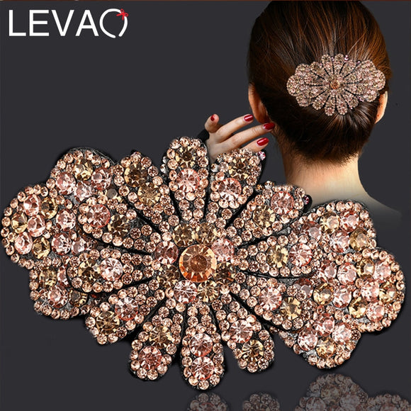 Levao Rhinestones Flower Bangs Clip Hairpin Hair Clips for Women Hair Accessories Pearl Barrette Clip Hair Claw Hairgrip
