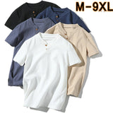 Linen male big v-neck t shirt Chinese style fat guy plus size men's Casual short-sleeve T-shirt 7XL 8XL 9XL big summer shirts  MartLion