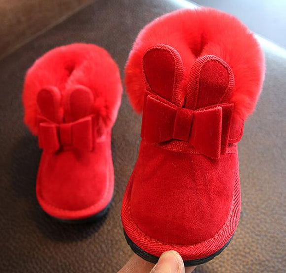 Little Girls Boots Bunny Bow Red Pink Ankle Boot Warm Fur Animal Boots 2019 New Warm Snow Boots SandQ Baby  MartLion.com