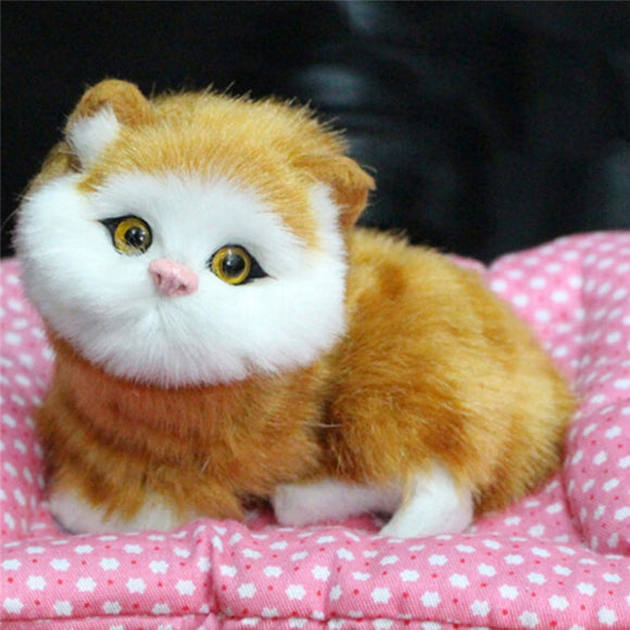 Lovely Simulation Animal Doll Plush Sleeping Cats Toy with Sound Kids Toy Birthday Gift Doll Decorations stuffed toy
