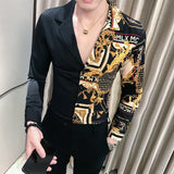 Luxury Black Gold Shirt 2019 Autumn Baroque Men Shirt Long Sleeve Patchwork  Casual Shirt Men Slim Fit Print Party Club Shirt  MartLion