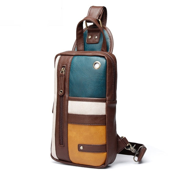 Luxury Brand Men Crossbody Bag Small Cell Phone Strap Sling Man Messenger Bags Male Leather Chest Pack Men Chest Bags  MartLion.com