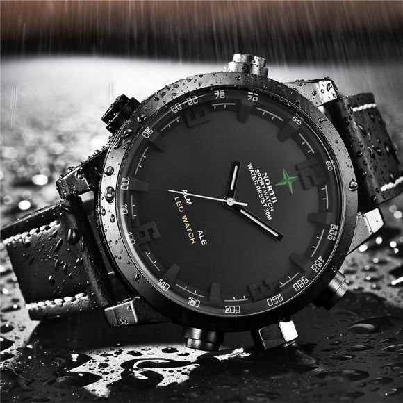 Luxury Brand North Casual Sports Quartz Watch Men Leather Analog Electronic Digital Watch Military Watches Man Relogio Masculino  MartLion.com