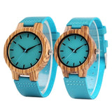 Luxury Royal Blue Wood Watch Top Quartz Wristwatch 100% Natural Bamboo Clock Casual Leather Valentine's Day Gifts  MartLion.com