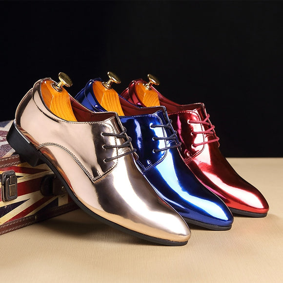 M-anxiu Big size 37-48 Trend Pointed Toe Men Leather Shoes Fashion Bright Business Shoes Casual Wedding Hard-wearing Shoes