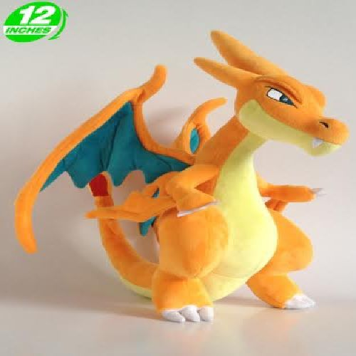 MEGA Charizard XY Figure Blue Orange Plush Doll Stuffed Animals Fire Elf Kids Toys 30CM  MartLion