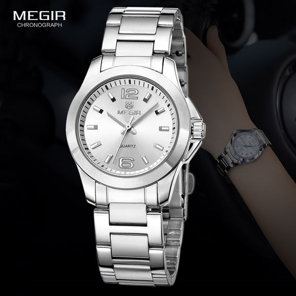 MEGIR Women's Simple Round Dial Quartz Watches Stainless Steel Waterproof Wristwatch for woman MS5006L  MartLion.com