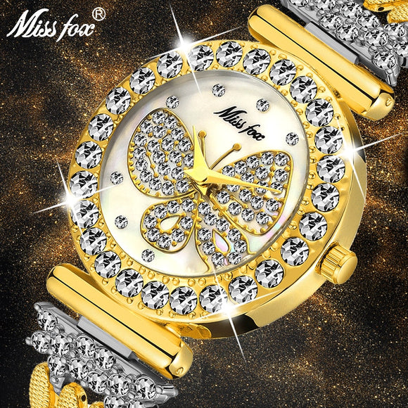 MISSFOX Butterfly Women Watches Luxury Brand Big Diamond 18K Gold Watch Waterproof Special Bracelet Expensive Ladies Wrist Watch  MartLion.com