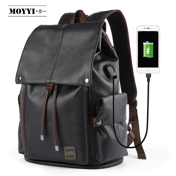 MOYYI  Famous Brand School Style Leather Backpack Bag For College Simple Design Men Waterproof  Casual Daypacks mochila 2019 - Mart Lion  Best shopping website