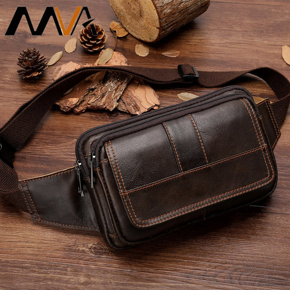 MVA Men's Waist Bag Leather Male Fanny Pack Money Belt Bag Men Phone Man Belt Shoulder Bags for Men Travel Waist Pack 8966  MartLion.com