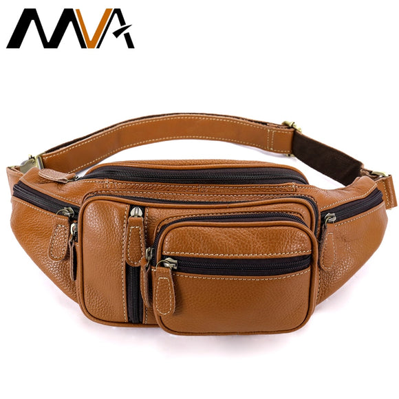 MVA Multi-function Money Belt Bag Men's Waists Bags Genuine Leather Fanny Pack Phone Waist Pack/Bags Messenger Bag Men 8336  MartLion.com