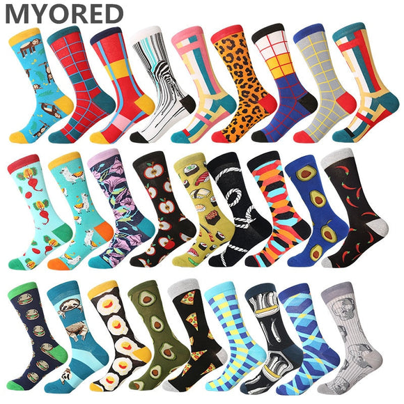MYORED men dress color comfortable pair roller skateboard for causal reason funny wedding socks socks