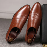 Mazefeng Men Shoes 2020 New Pointed Toe Dress Shoes Classic Male Leather Shoes Fashion Wear-resistant Party Wedding Shoe for Men - Mart Lion