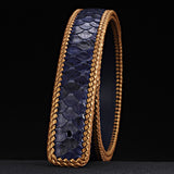 McParko Luxury Belt Men Genuine Leather PYTHON Belts without Buckle Fashion Weaving Braide Snakeskin Mens Waist Belts Blue Brown  MartLion
