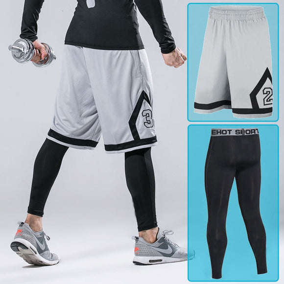 Men 2 pieces Basketball Shorts With Zipper Pockets Sport Gym Workout Shorts Tights For Male Soccer Exercise Running Fitness Set