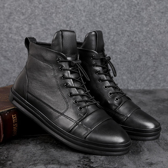 Men Boots Genuine Leather Shoes Mens Sneakers Male Casual Footwear Fashion Outdoor Winter Ankle Boots Shoes Black Sneakers 47 48  MartLion