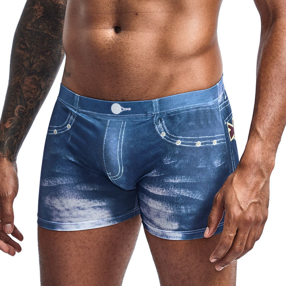 Men Denim Underwear 3D Sexy Boxer Jeans Shorts Classic Print Boxers Mens New Fashion Cowboy Underpants Trunks Brand Underpants  MartLion