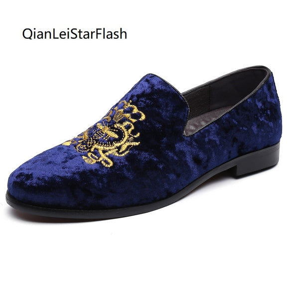 Men Dress Shoes Suede Loafers Shoes Bee Embroidery  Moccasin Loafers Lazy Slip on Shoes Male Driving Shoes