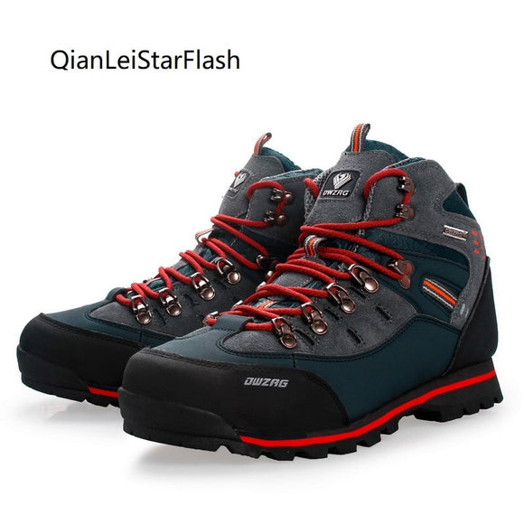 Men Mountain Hiking Shoes Waterproof Cow Leather Climbing Fishing Trail Shoes Outdoor High Top Hunting Boots Trekking Sneakers
