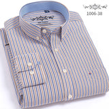 Men Shirt Long Sleeve New Oxford Solid Color Striped Shirt Plaid Mens Shirts Casual Slim Fit Business Lapel Dress Shirt  MartLion