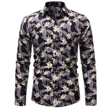 Men Spring and Summer Holiday Wind Floral Print Shirt / Fashion Slim Long Sleeve Boutique Cotton High Quality Urban Fashion T  MartLion
