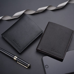 Men Wallet Leather Luxury  Short Credit Card Thin Short Mini Slim Cute Small Black Purse Wallet Money Clip  MartLion