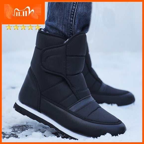 Men boots 2020 warm plush winter shoes fashion waterproof ankle boots non-slip men winter snow boots size 38 - 45