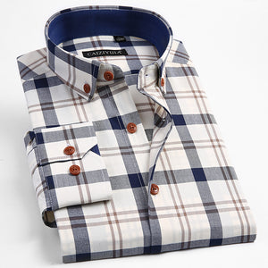 Men's 100% Cotton Long Sleeve Contrast Plaid Dress Shirt Male Smart Casual Tops Slim Fit Adjustable Cuff Button Down Shirts  MartLion