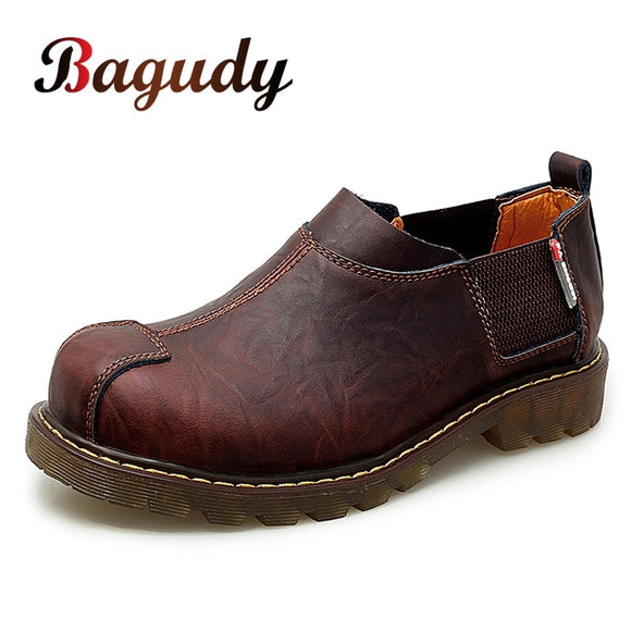 Men's Big-head Leather Shoes Fashion Genuine Leather Casual Shoes Top Quality Dress Oxford Shoes Men Flats Work Shoes Size 38-47  MartLion