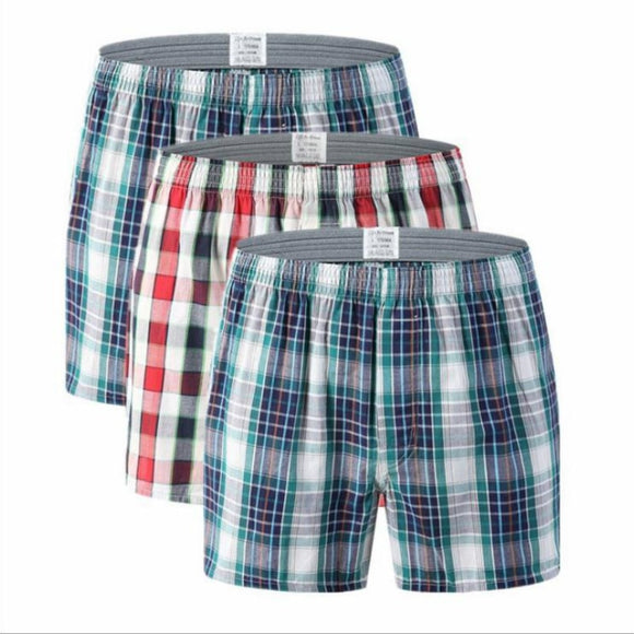 Men's Cotton shorts Plaid mid Waist Underwear plus Size pants coton men boxer homme boxers homem boxershort