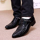 Men's Crocodile Dress Leather Shoes Lace-Up Wedding Party Shoes Mens Business Office Oxfords Flats Plus Size Men Fashion  MartLion