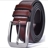 Men's Genuine Leather Dress Belt Classic Stitched Design 38mm 'ALL LEATHER' Regular Big and Tall Sizes  MartLion