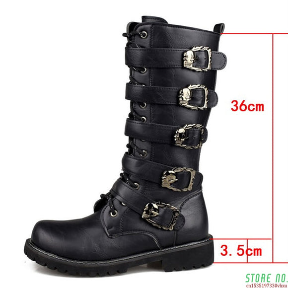 Men's Leather Motorcycle Boots Mid-Calf Military Combat Boots Gothic Belt Skull Punk Boots Men Shoes Tactical Army Boots Warm46  MartLion