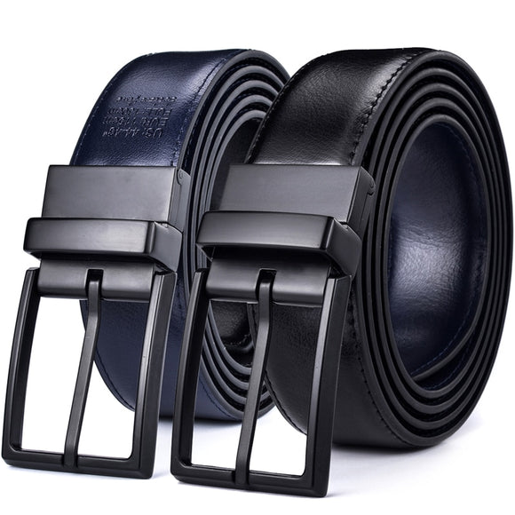Men's Leather Reversible Belt - Classic & Fashion Designs Black/blue Two in One Belts with Rotated Buckle ceinture Size 28-54