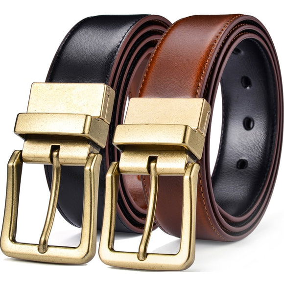 Men's Leather Reversible Belts Adjustable Antique Style Rotated Buckle 2 In 1