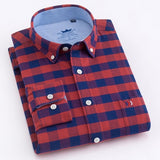 Men's Long Sleeve Oxford Plaid Striped Button Down Dress Shirt with Single Chest Pocket 100% Cotton Leisure Office Work Shirts  MartLion