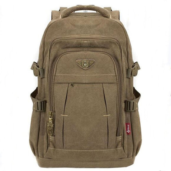 Men's Military Canvas Backpack Zipper Rucksacks Laptop Travel Shoulder Mochila Notebook Schoolbags Vintage College School Bags  MartLion.com