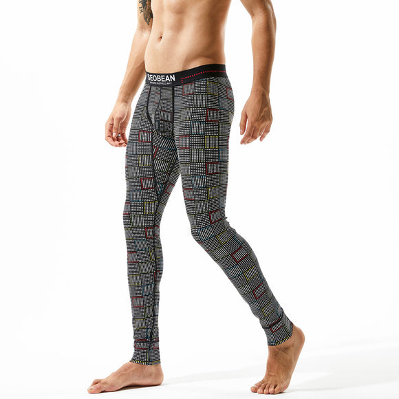 Men's Plaid Long johns Winter Autumn Cotton Thermal Underwear Comfortable Cotton Warm Thermal Underpants leggings Male tights