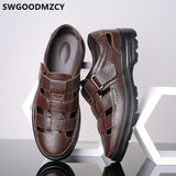Men's Sandals Casual Italian Mens Shoes Genuine Leather Formal Dress Breathable Designer Shoes Men High Quality Plus Size 48  MartLion