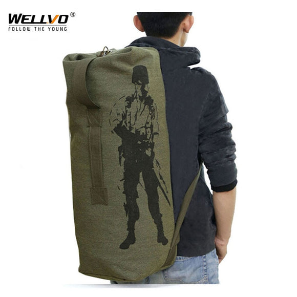 Men's Travel Bag Army Green Bucket Bags Men Backpack Canvas Backpacks Large Duffle Men Shoulder Bags Fishing Bag mochila XA820C  MartLion.com
