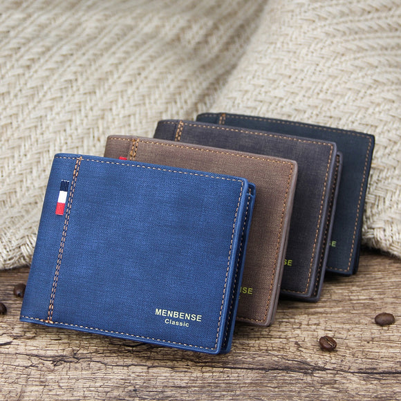 Men's Wallet Money Bag Solid Color Leather Business Short Wallet Famous Vintage Male Walltes Purse  MartLion