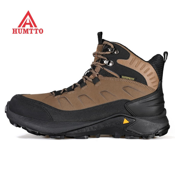 Men's and women's high top mountaineering shoes cowhide anti splashing outdoor hiking shoes anti skid and shock absorption  MartLion