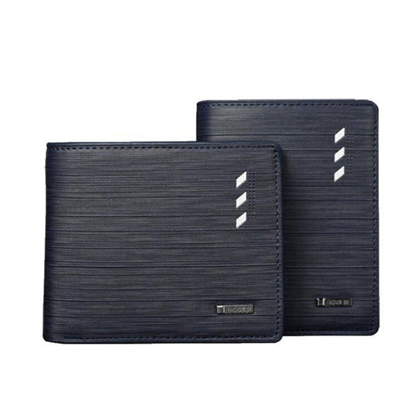 Men's short wallet cross section Fashion multi-function wallet card bag PU leather 2 fold blue brown wallet  MartLion