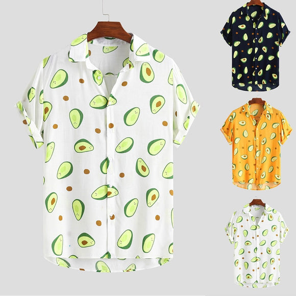 Mens Funny  Printed Turn Down Collar Short Sleeve Casual Shirts Button Printed Daily Party Cotton Fashion Men Blousen  MartLion