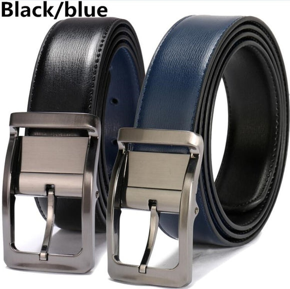 Mens Leather Reversible Belt 3.4cm Width Casual Dress One for 2 Colors