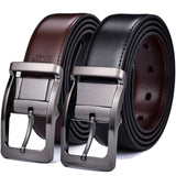 Mens Leather Reversible Belt 3.4cm Width Casual Dress One for 2 Colors  MartLion