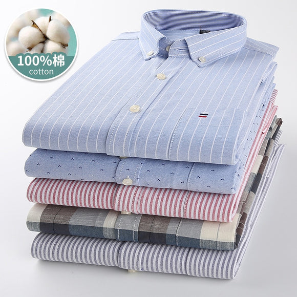 Mens Striped Shirts 100% Cotton Oxford Long Sleeve Plaid Solid Color Casual Shirts for Business Men Daily Use Camisas Hombre
